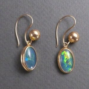 Jewelry - Antique Day & Night Gold Opal Earrings